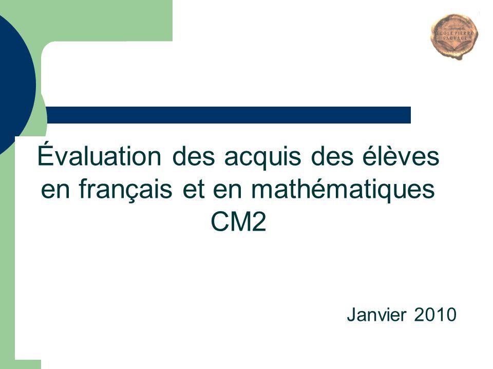 Évaluation des acquis des élèves en français et en mathématiques CM2
