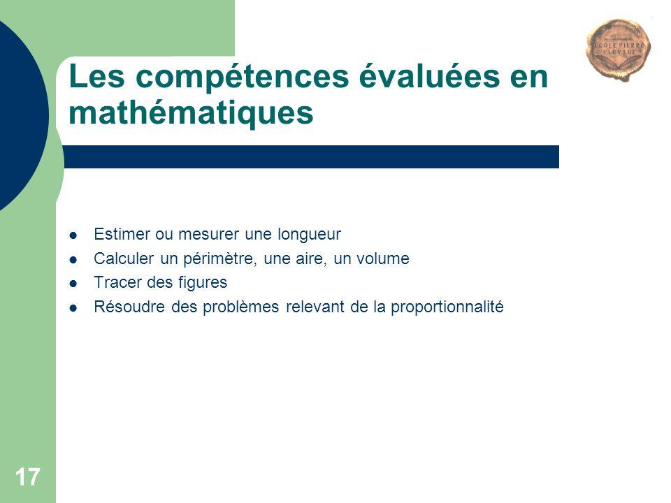 Les compétences évaluées en mathématiques