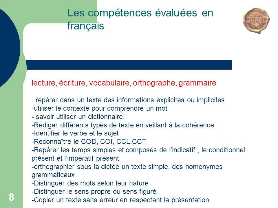 Les compétences évaluées en français