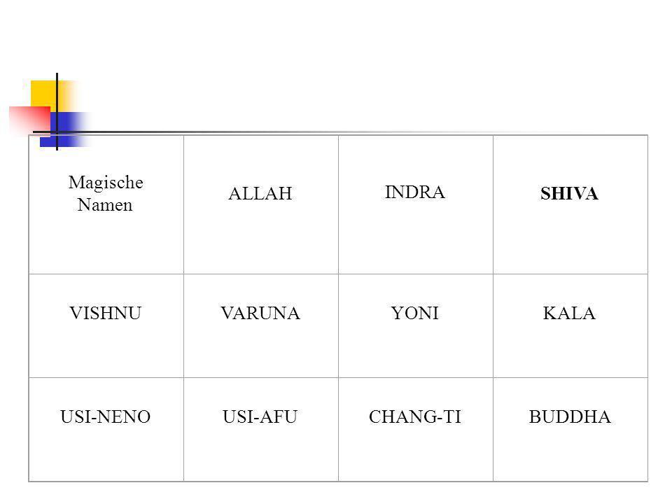 Magische Namen ALLAH INDRA SHIVA VISHNU VARUNA YONI KALA USI-NENO USI-AFU CHANG-TI BUDDHA