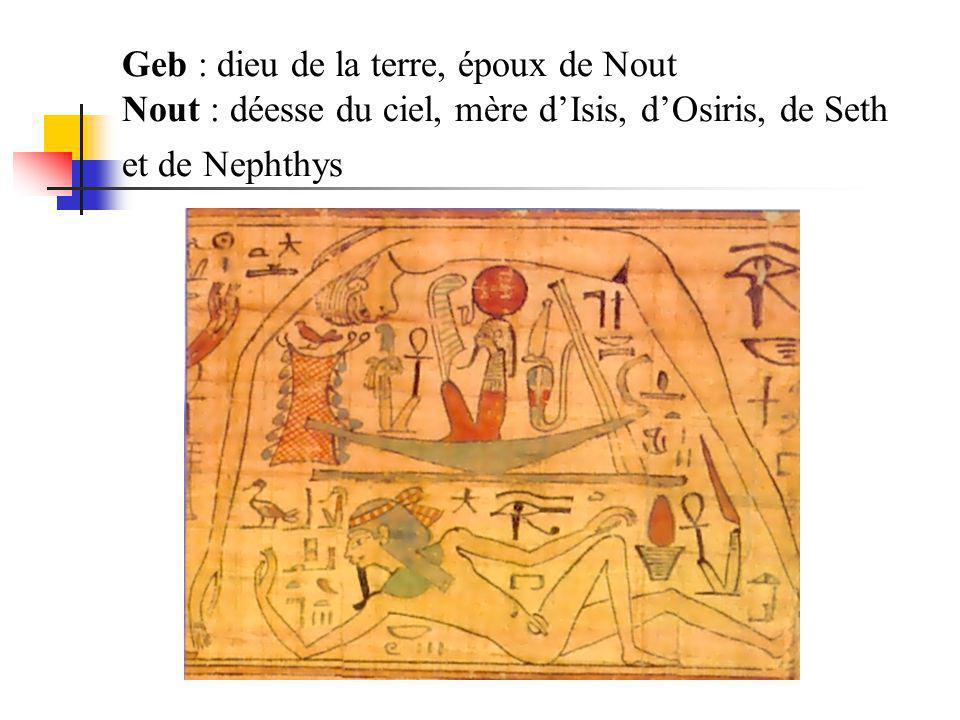 Geb : dieu de la terre, époux de Nout Nout : déesse du ciel, mère d'Isis, d'Osiris, de Seth et de Nephthys