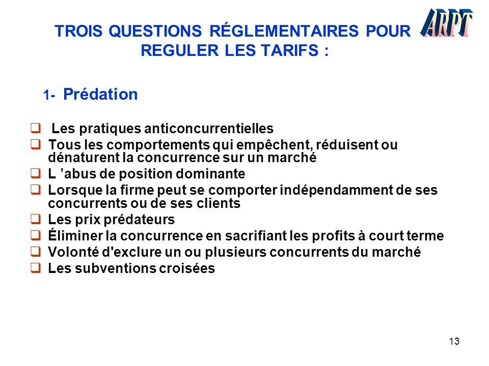 TROIS QUESTIONS RÉGLEMENTAIRES POUR REGULER LES TARIFS :