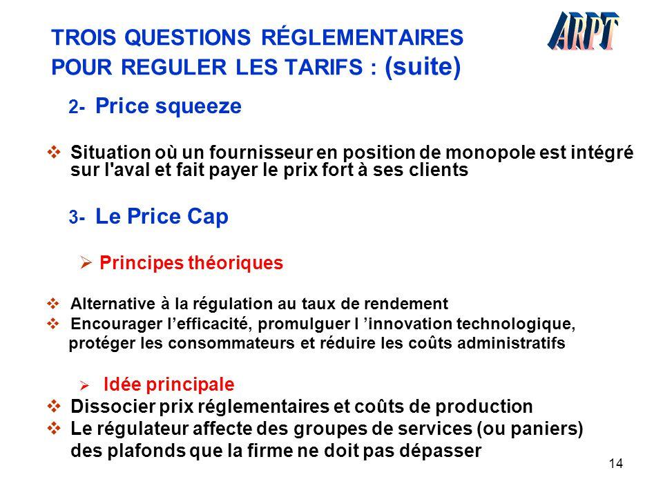 TROIS QUESTIONS RÉGLEMENTAIRES POUR REGULER LES TARIFS : (suite)