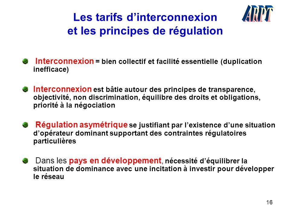 Les tarifs d'interconnexion et les principes de régulation