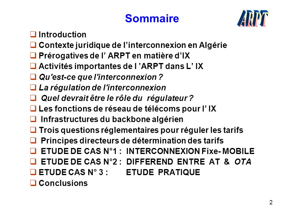 Sommaire ARPT Introduction