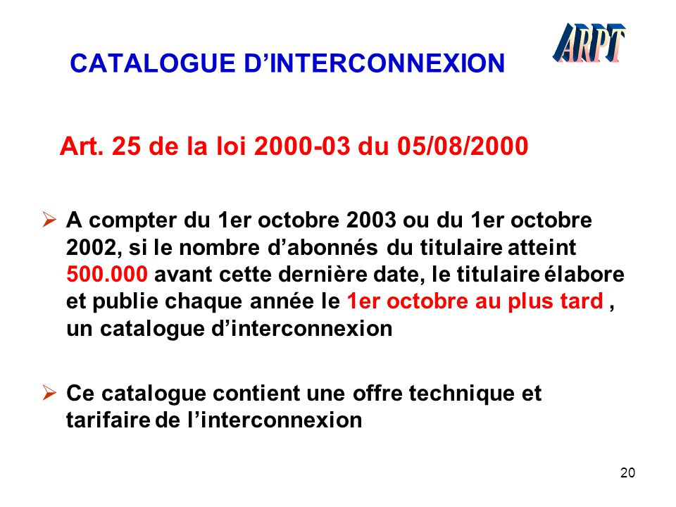 CATALOGUE D'INTERCONNEXION