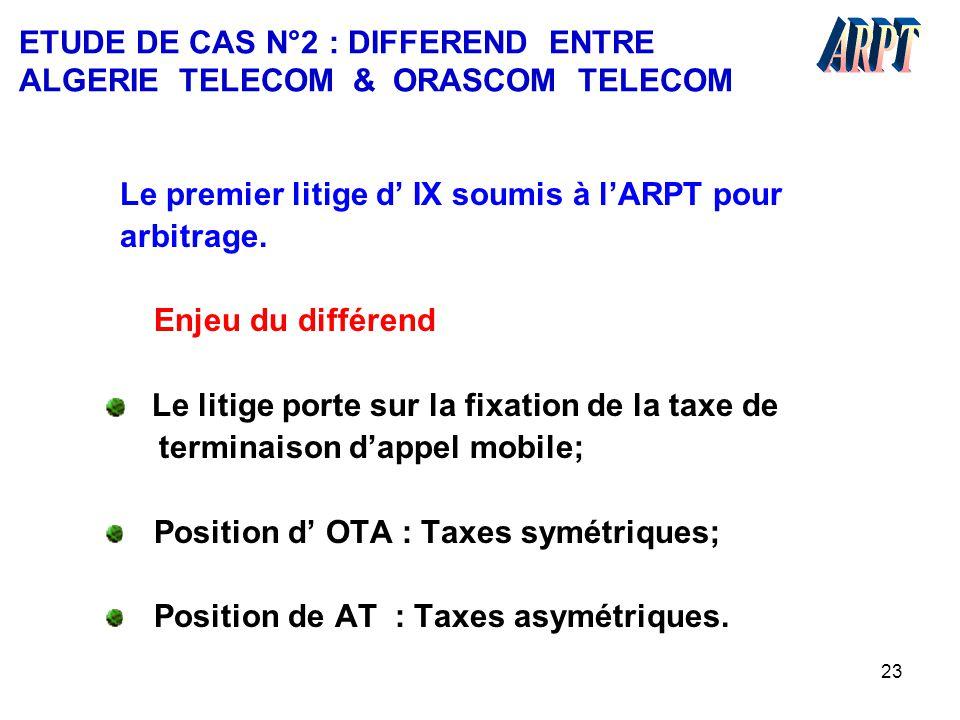 ETUDE DE CAS N°2 : DIFFEREND ENTRE ALGERIE TELECOM & ORASCOM TELECOM