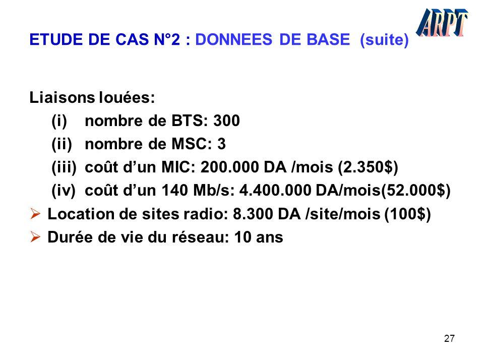 ETUDE DE CAS N°2 : DONNEES DE BASE (suite)