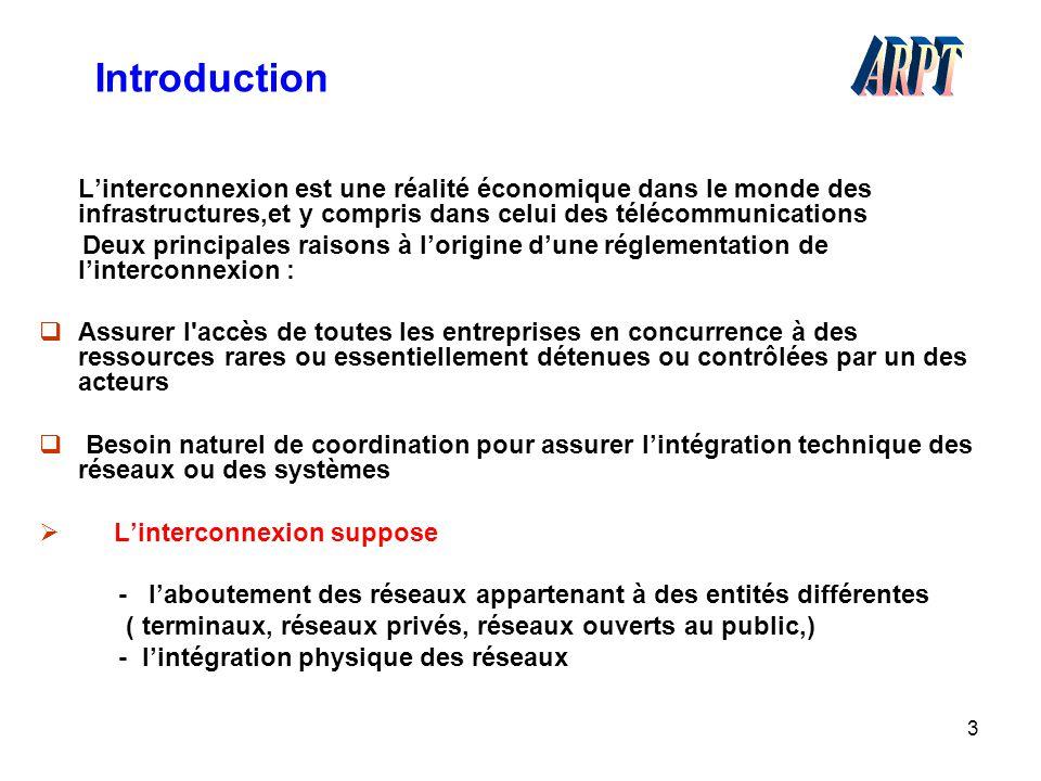 Introduction ARPT. L'interconnexion est une réalité économique dans le monde des infrastructures,et y compris dans celui des télécommunications.