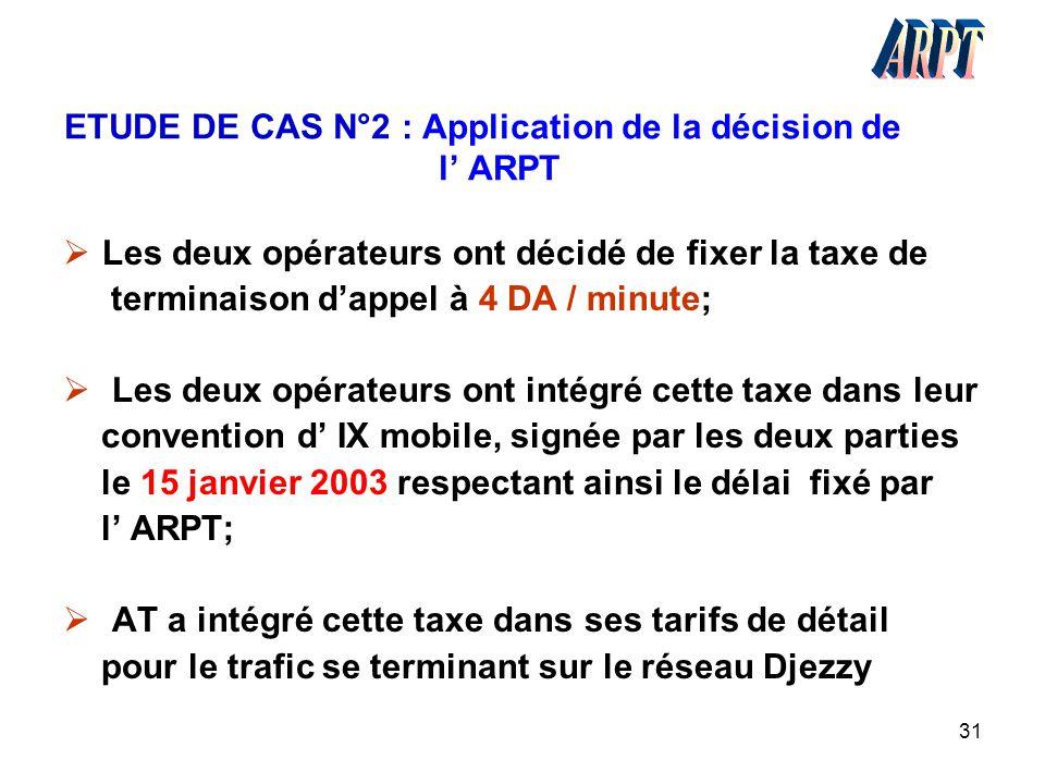 ETUDE DE CAS N°2 : Application de la décision de l' ARPT