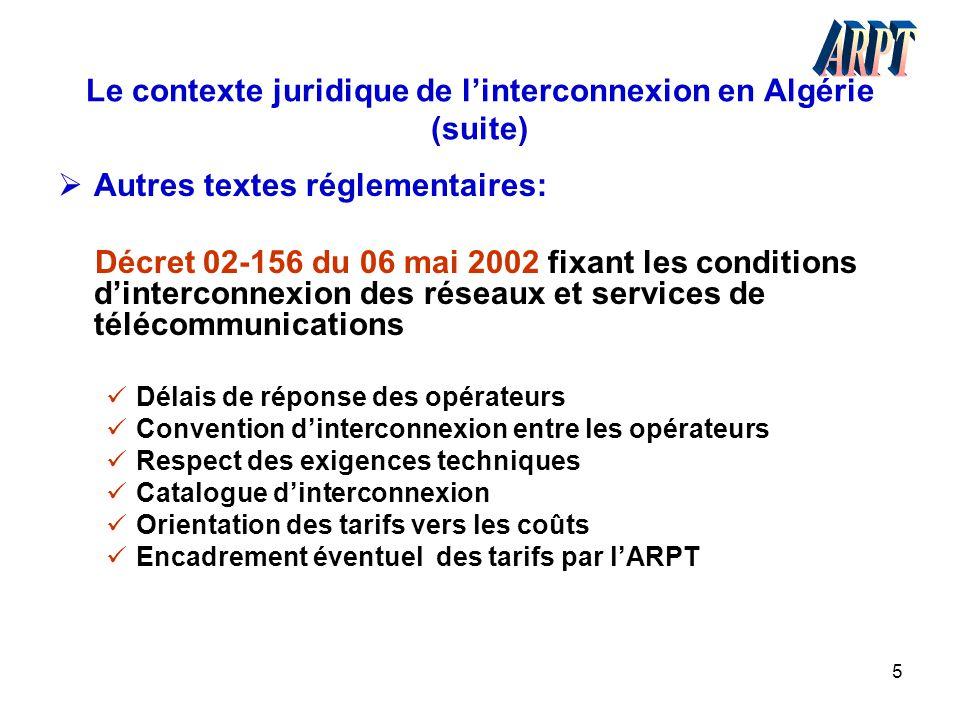 Le contexte juridique de l'interconnexion en Algérie (suite)