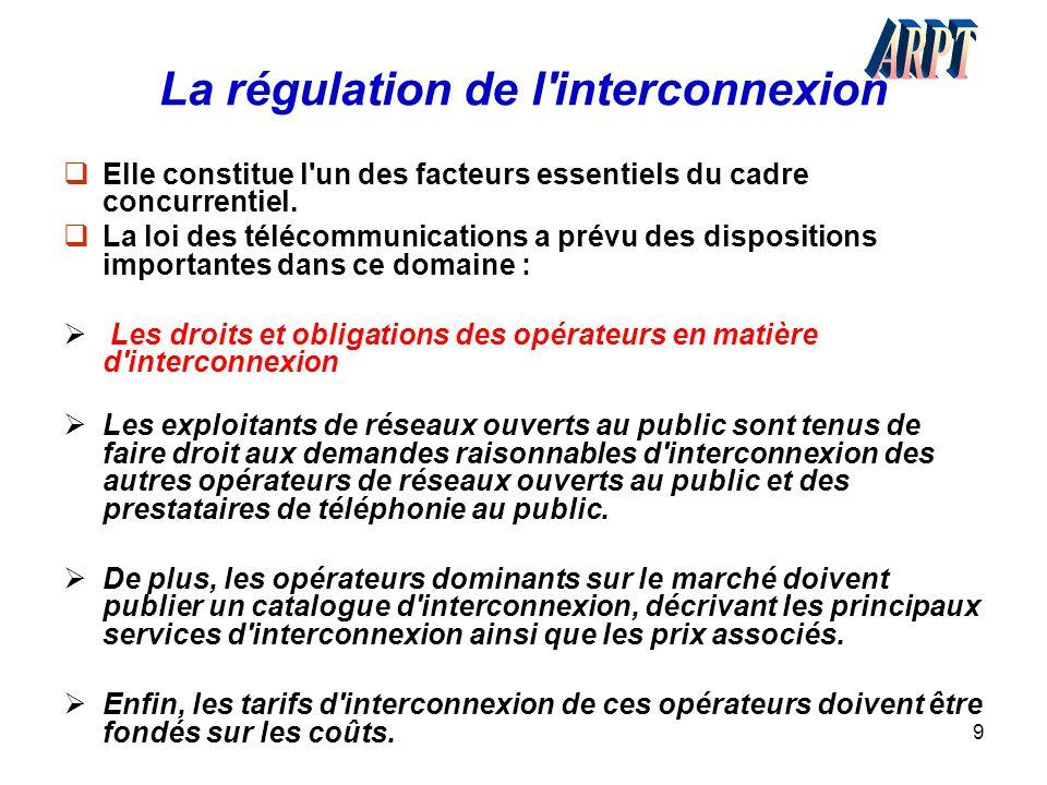 La régulation de l interconnexion