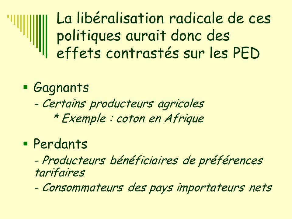La libéralisation radicale de ces politiques aurait donc des effets contrastés sur les PED