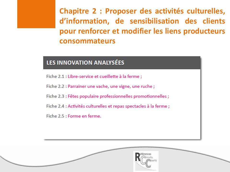 Chapitre 2 : Proposer des activités culturelles, d'information, de sensibilisation des clients pour renforcer et modifier les liens producteurs consommateurs