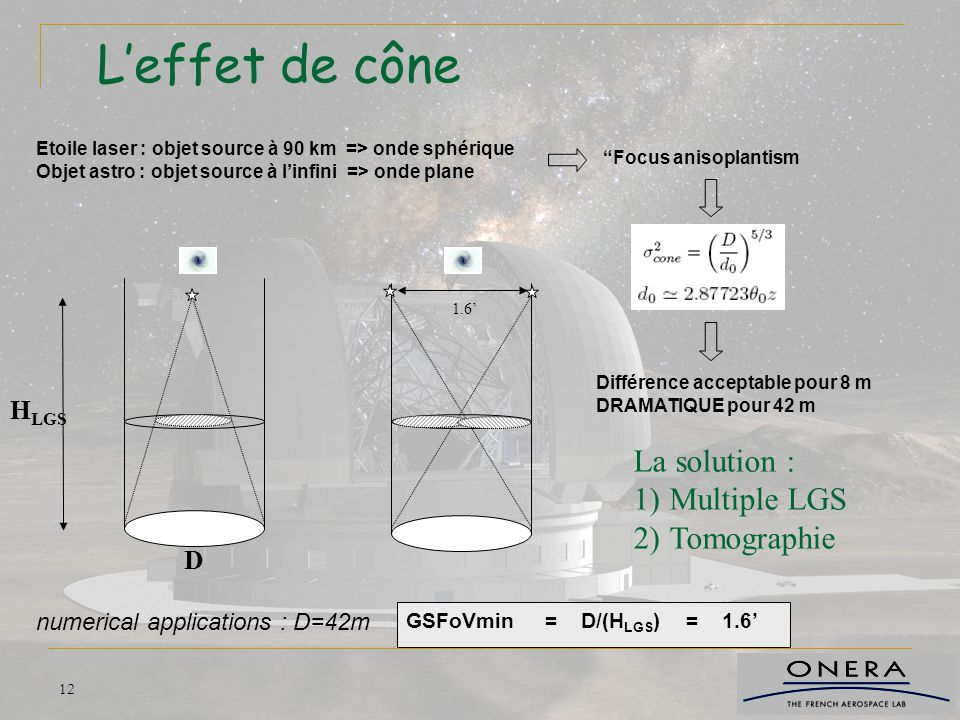 L'effet de cône La solution : Multiple LGS Tomographie HLGS D
