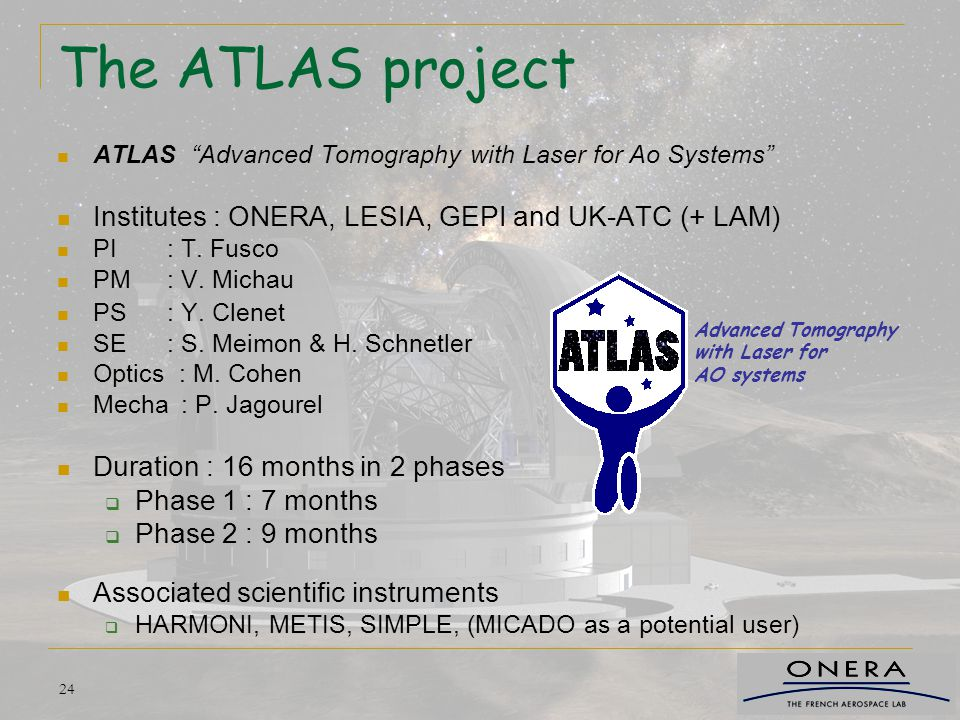 The ATLAS project Institutes : ONERA, LESIA, GEPI and UK-ATC (+ LAM)