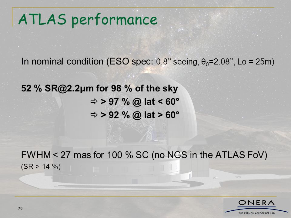 ATLAS performance In nominal condition (ESO spec: 0.8'' seeing, θ0=2.08'', Lo = 25m) 52 % SR@2.2μm for 98 % of the sky.