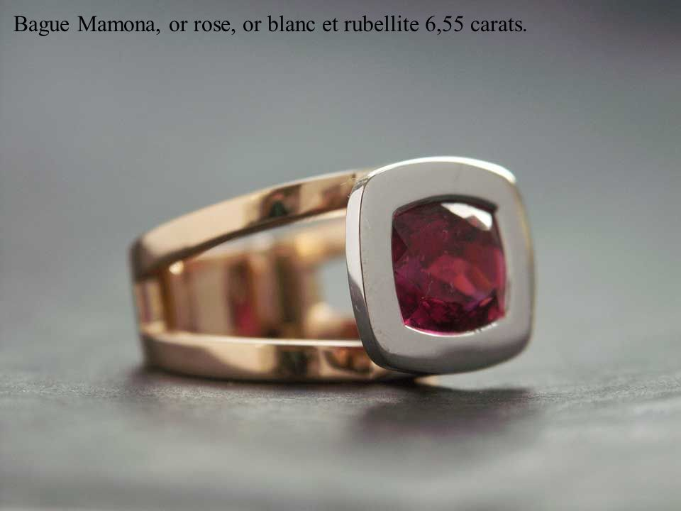 Bague Mamona, or rose, or blanc et rubellite 6,55 carats.
