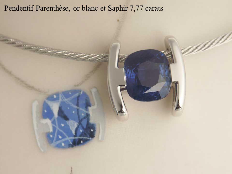 Pendentif Parenthèse, or blanc et Saphir 7,77 carats