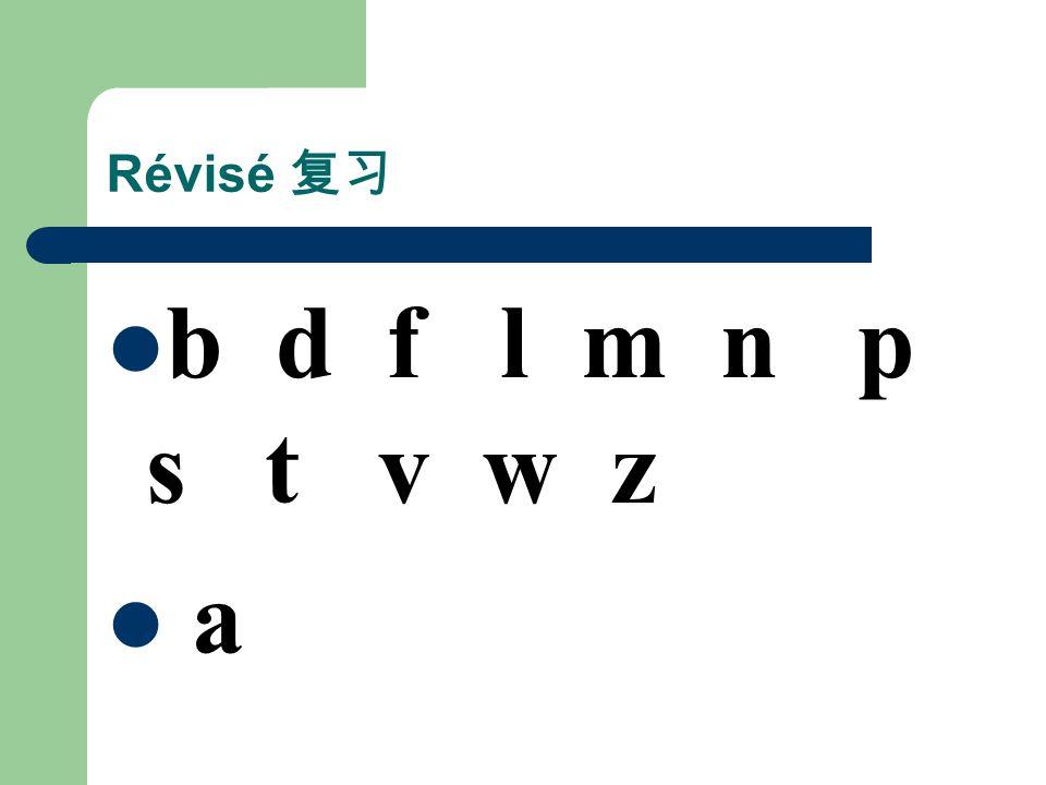 Révisé 复习 b d f l m n p s t v w z a
