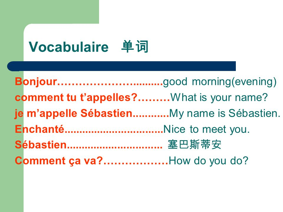 Vocabulaire 单词 Bonjour…………………..........good morning(evening)