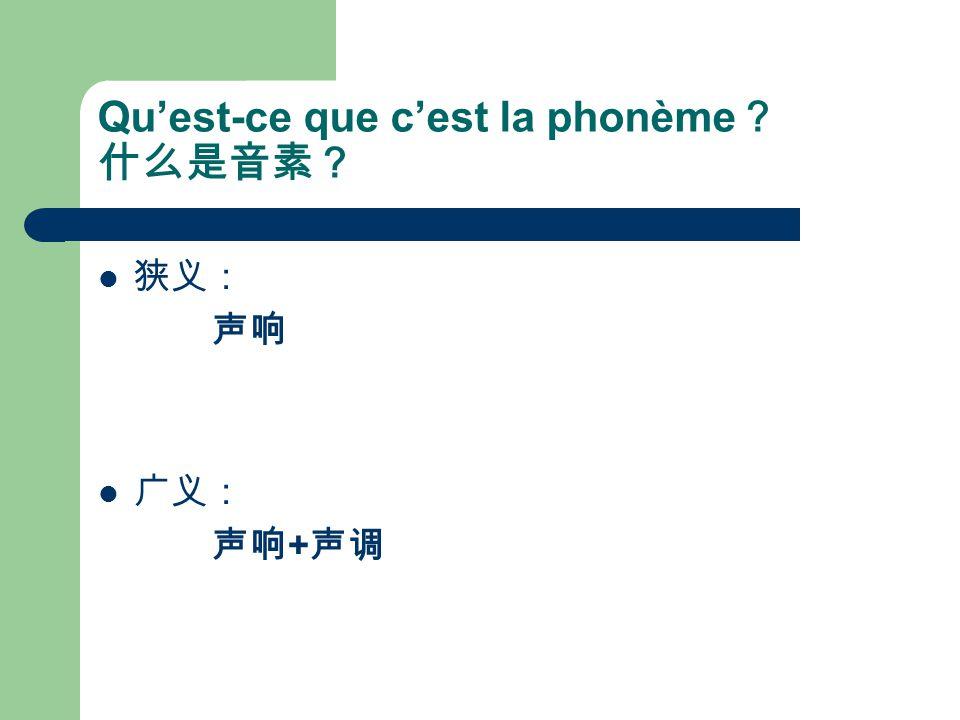 Qu'est-ce que c'est la phonème? 什么是音素?