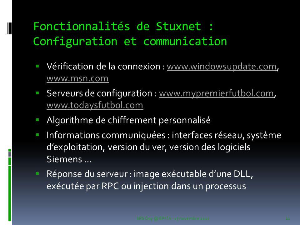 Fonctionnalités de Stuxnet : Configuration et communication