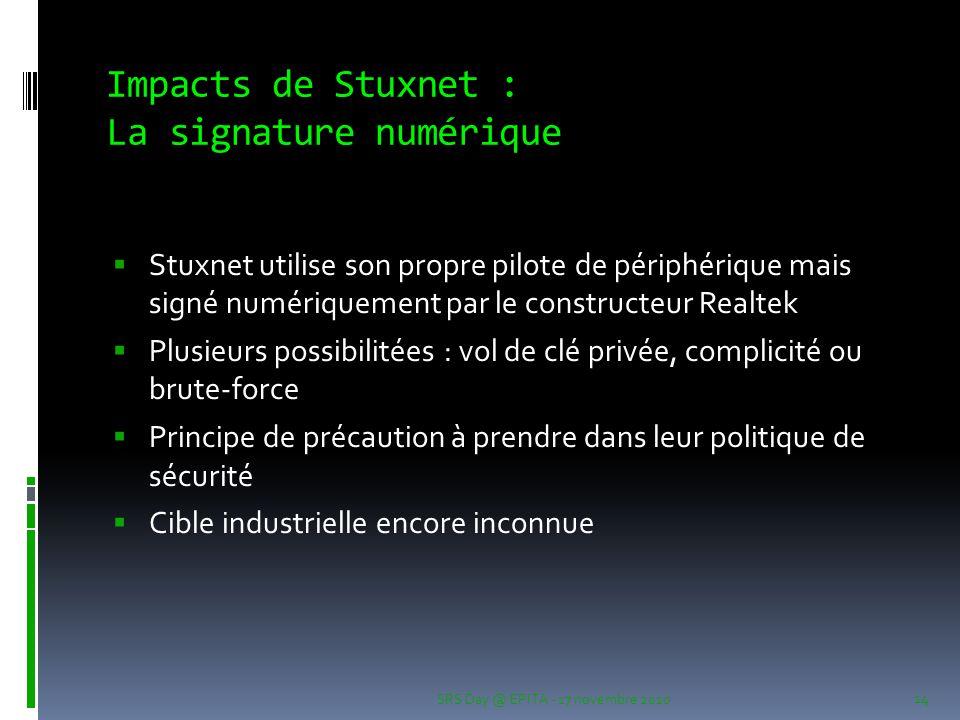 Impacts de Stuxnet : La signature numérique