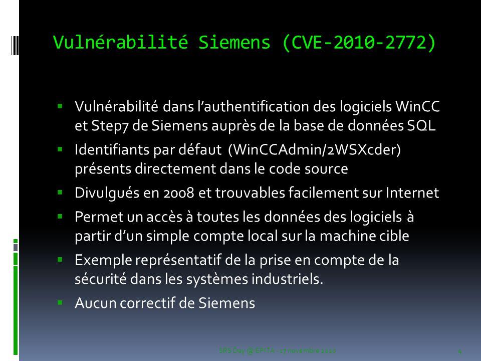 Vulnérabilité Siemens (CVE-2010-2772)
