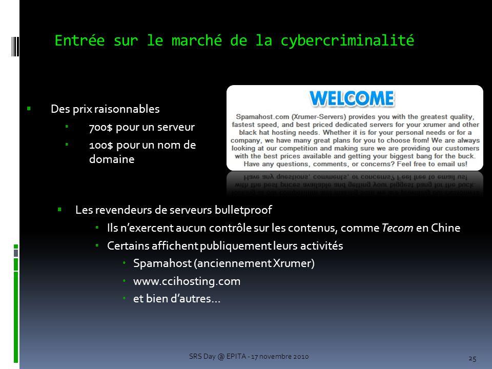 Entrée sur le marché de la cybercriminalité