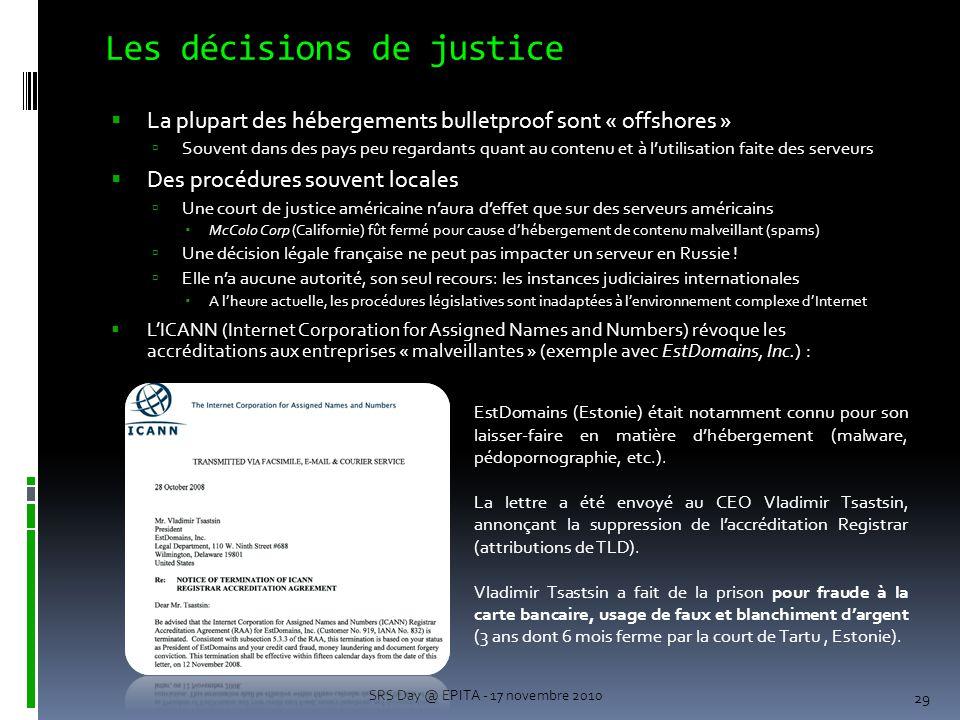 Les décisions de justice