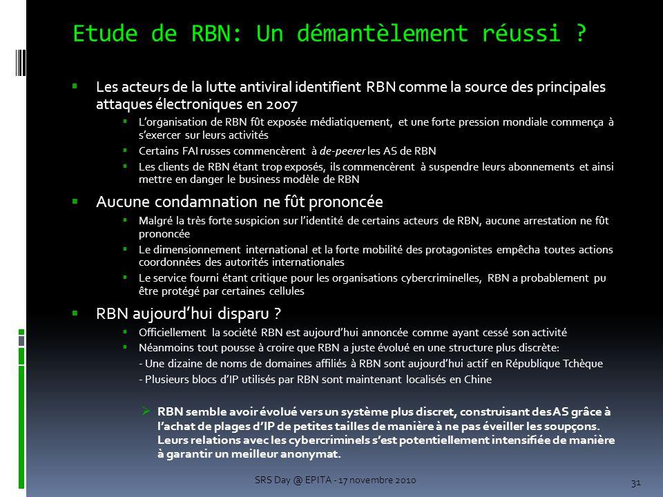 Etude de RBN: Un démantèlement réussi