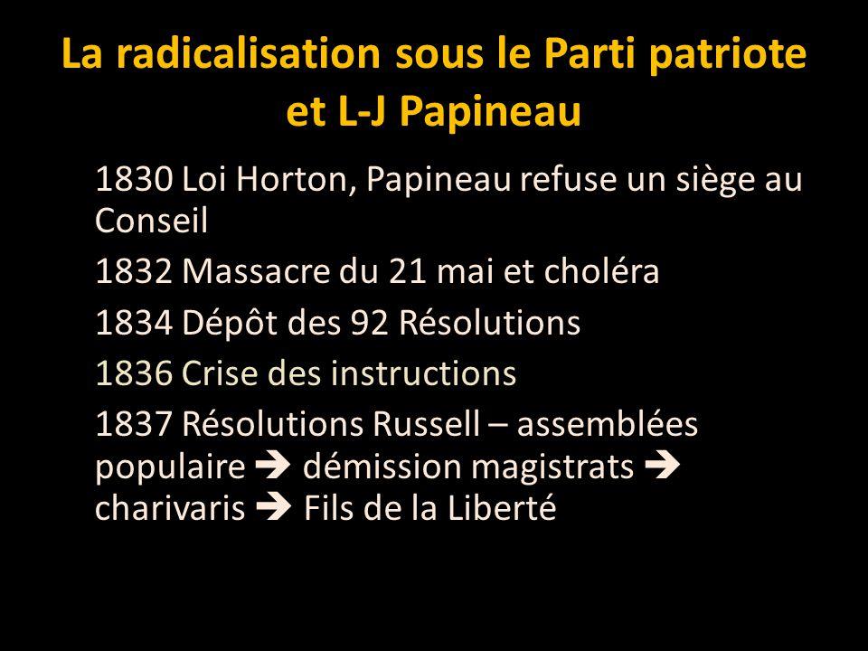 La radicalisation sous le Parti patriote et L-J Papineau