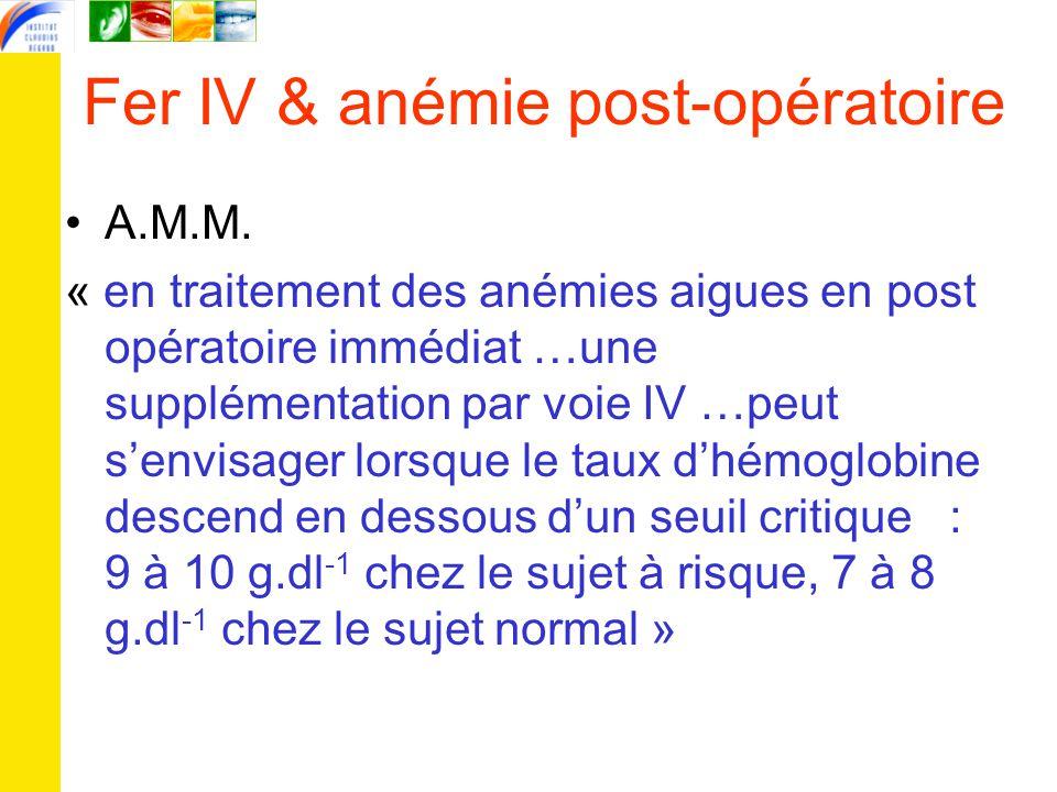 Fer IV & anémie post-opératoire