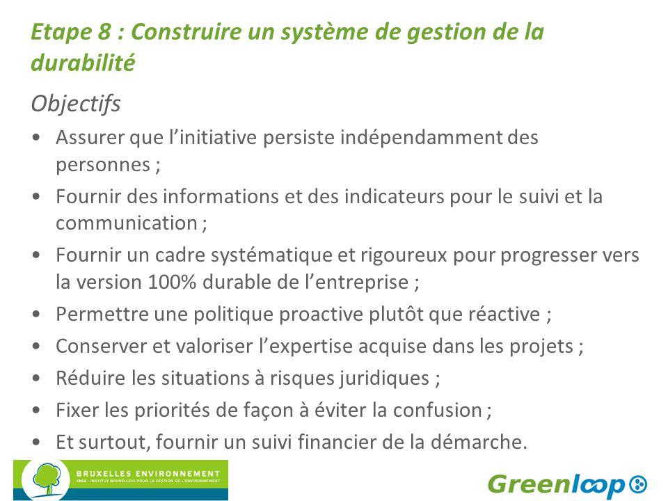 Etape 8 : Construire un système de gestion de la durabilité