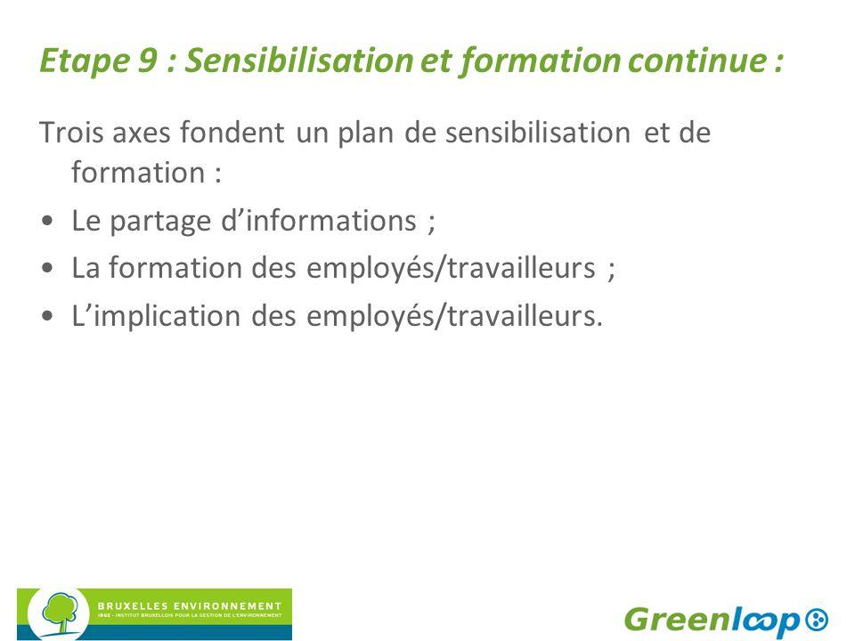 Etape 9 : Sensibilisation et formation continue :