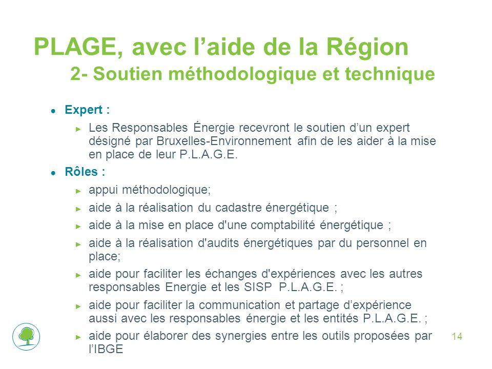 PLAGE, avec l'aide de la Région 2- Soutien méthodologique et technique