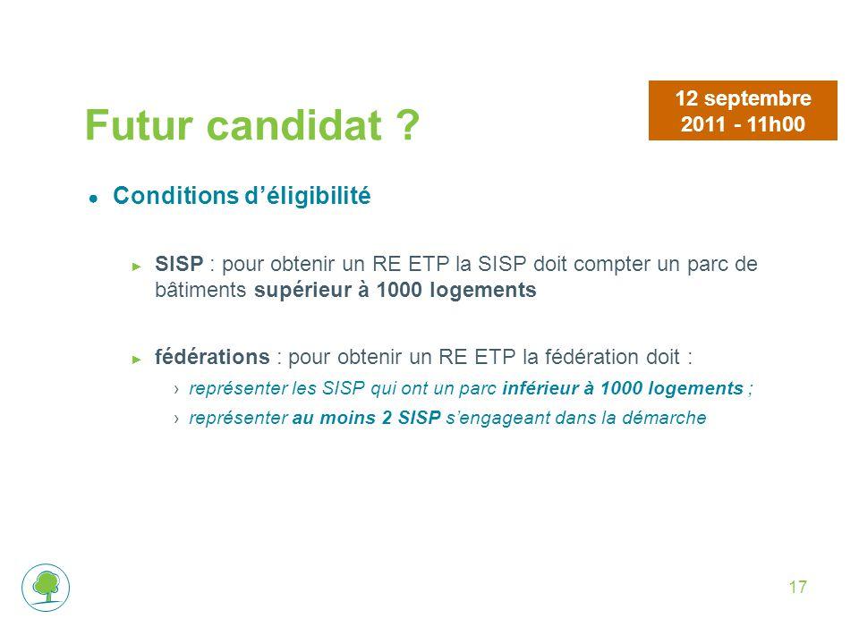 Futur candidat Conditions d'éligibilité 12 septembre 2011 - 11h00