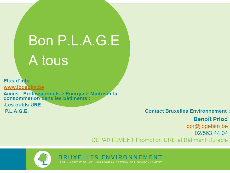 Bon P.L.A.G.E A tous Benoît Priod bpr@ibgebim.be 02/563.44.04