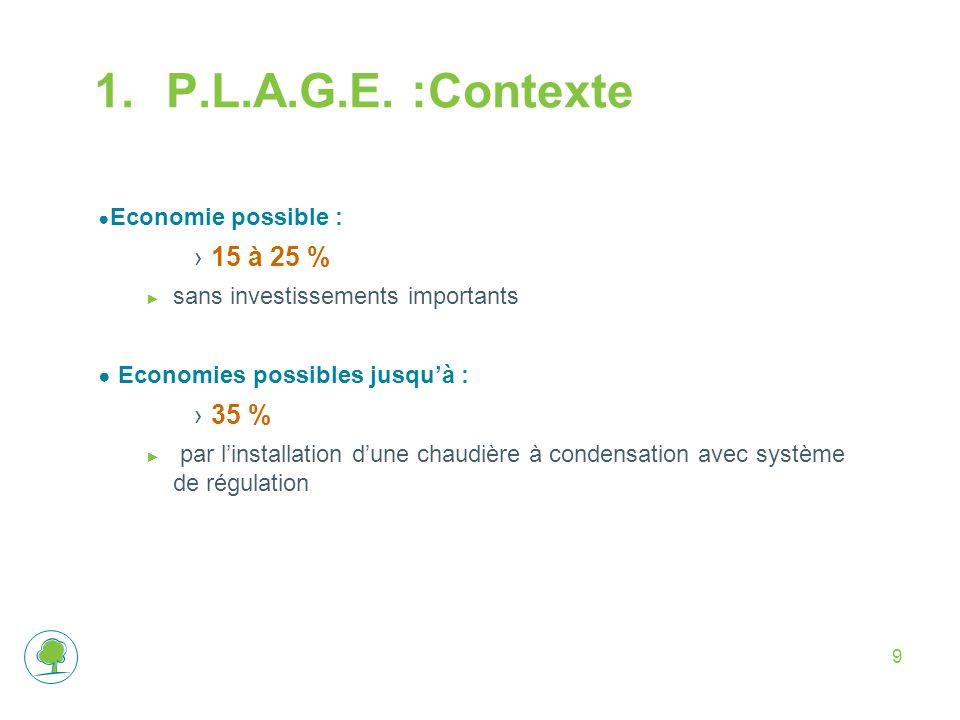 P.L.A.G.E. :Contexte 15 à 25 % Economies possibles jusqu'à : 35 %