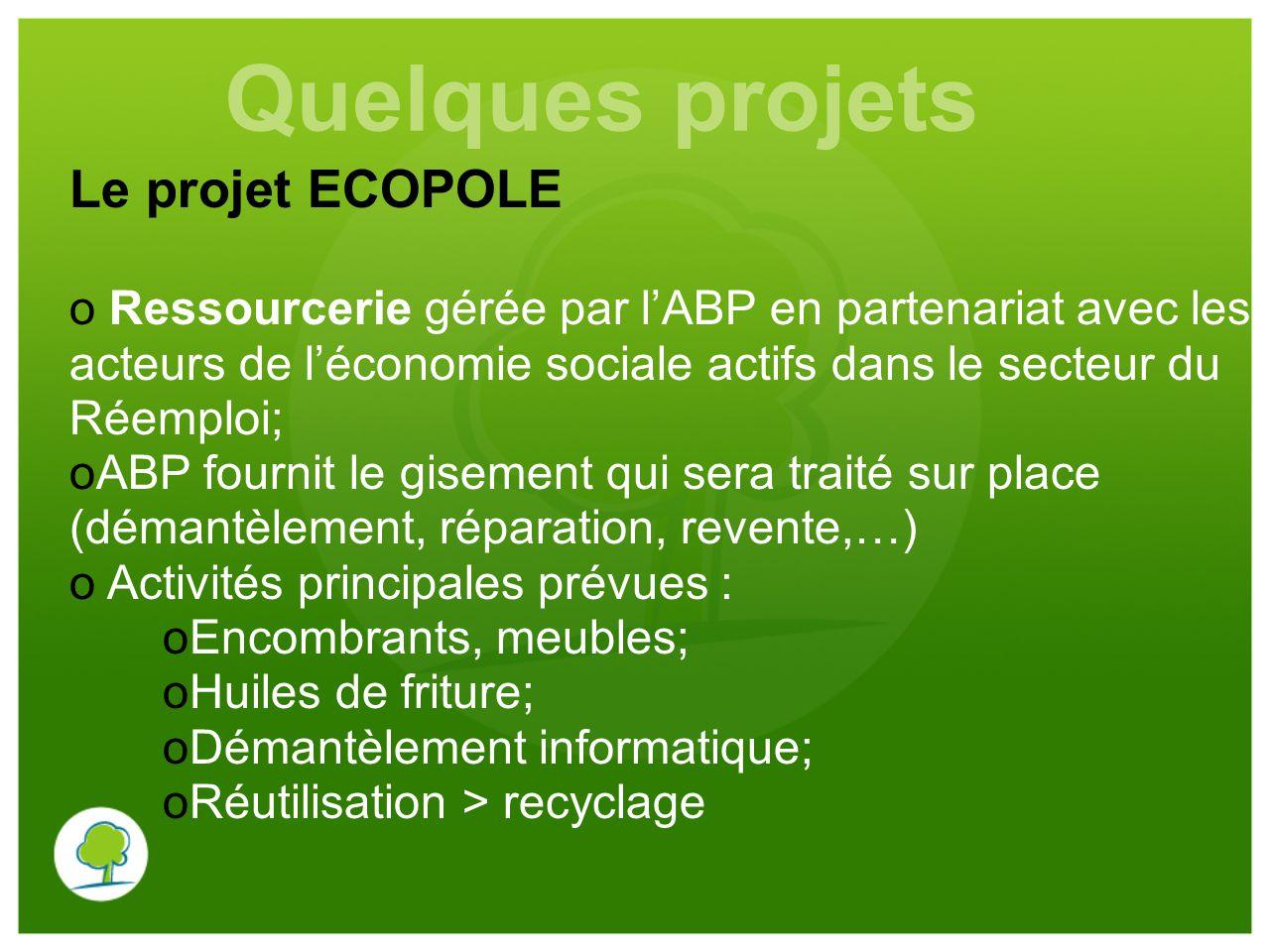 Quelques projets Le projet ECOPOLE