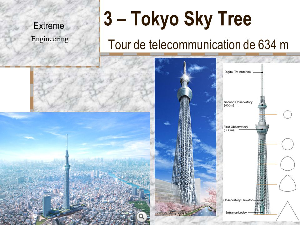 3 – Tokyo Sky Tree Tour de telecommunication de 634 m
