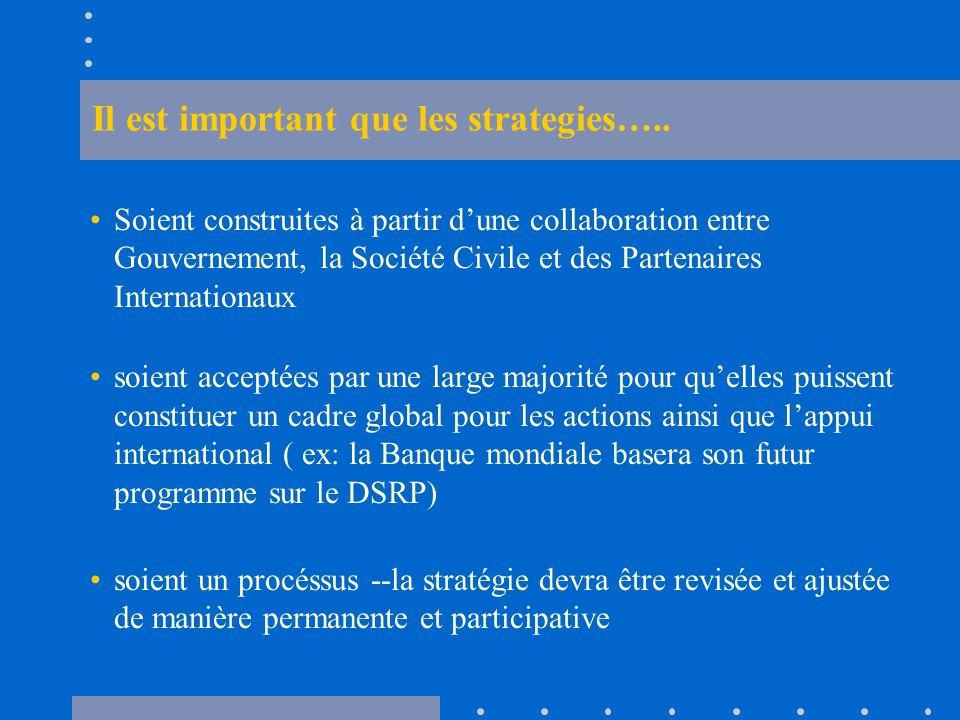 Il est important que les strategies…..