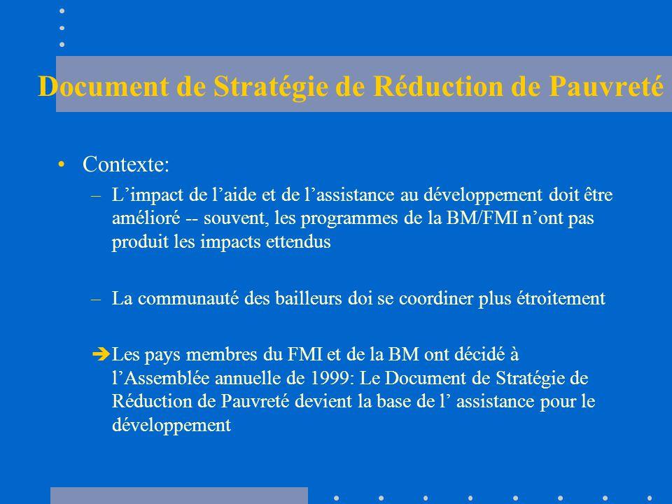 Document de Stratégie de Réduction de Pauvreté