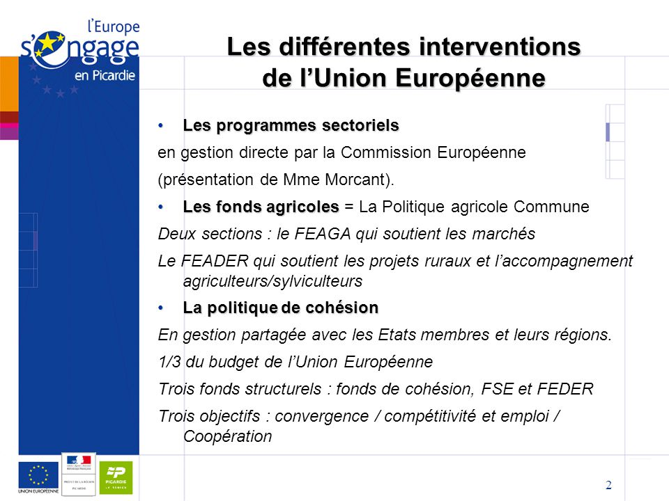 Les différentes interventions de l'Union Européenne