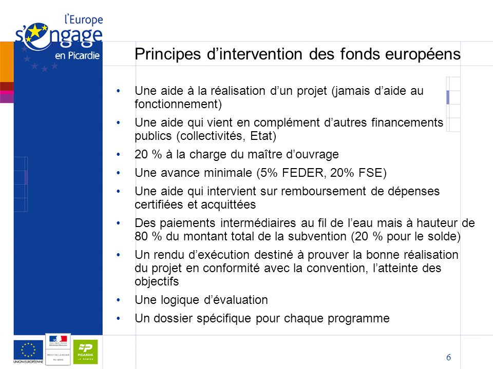 Principes d'intervention des fonds européens