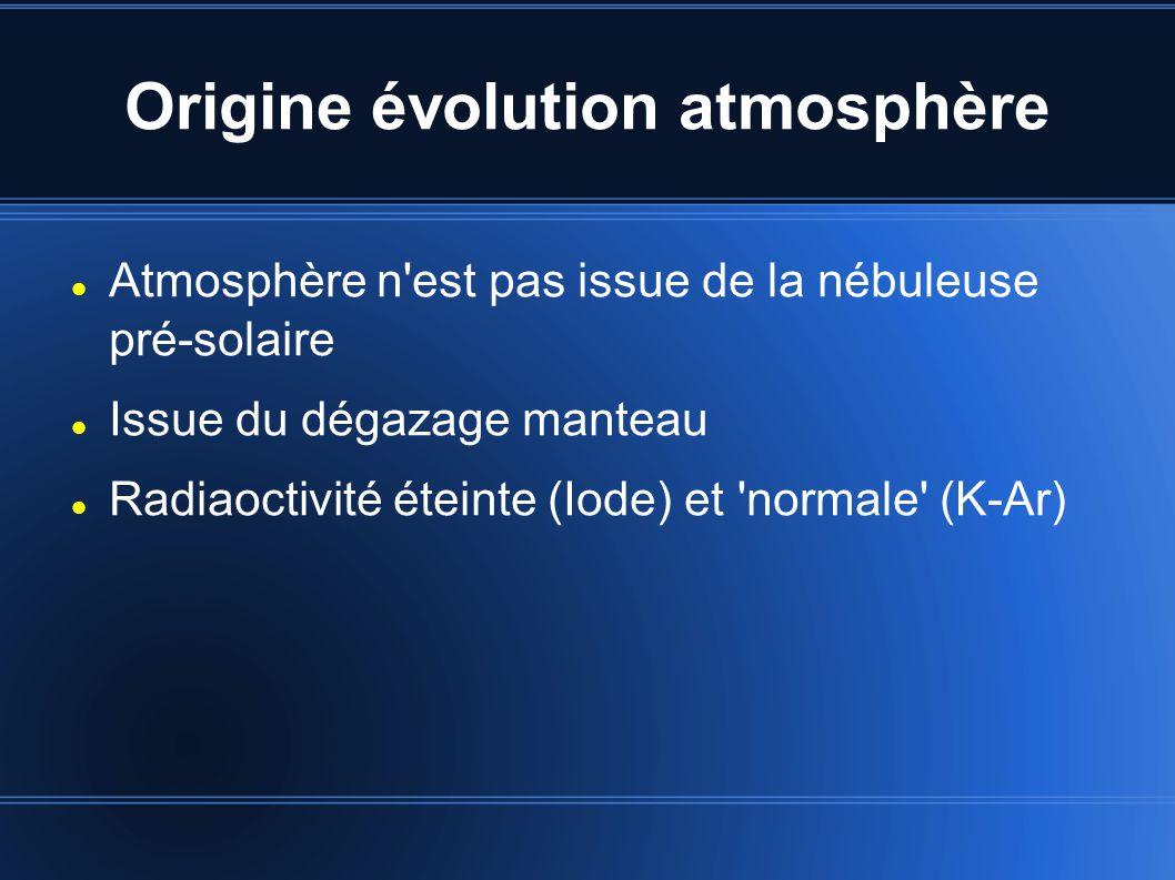 Origine évolution atmosphère