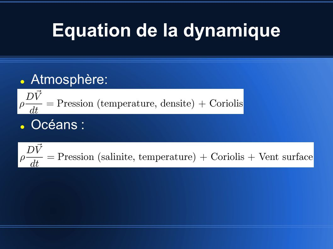 Equation de la dynamique