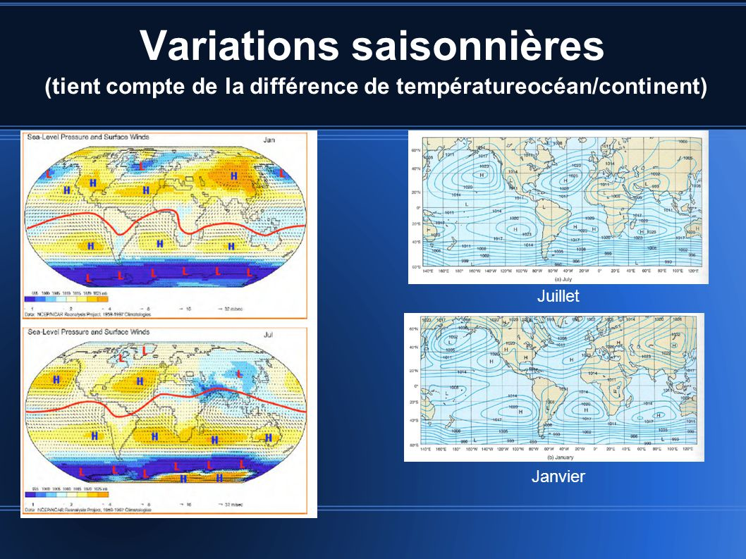Variations saisonnières (tient compte de la différence de températureocéan/continent)