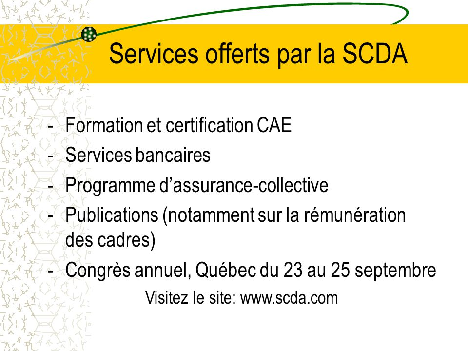 Services offerts par la SCDA